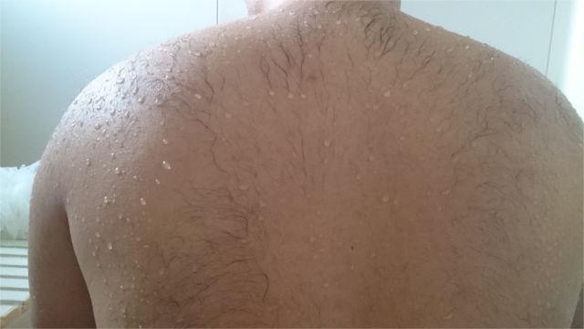 背中に暖かいシャワーをかけて背な毛を濡らす