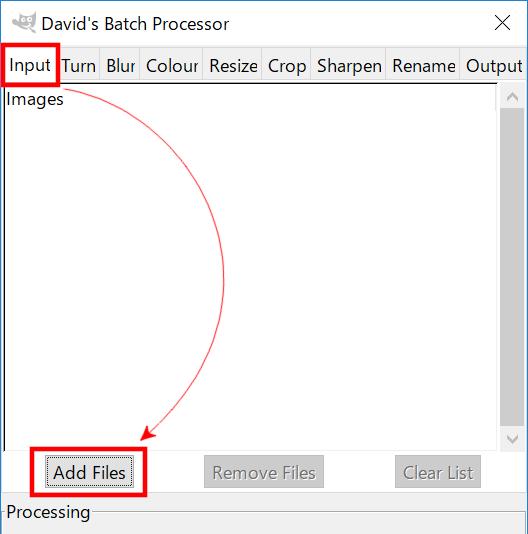 inputからAdd Filesでファイルを追加