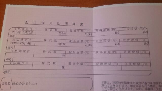 三井住友信託銀行の配当金支払明細書の内容