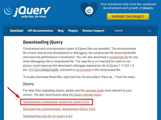 jQueryのダウンロードリンク