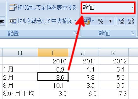 セルの書式が数値