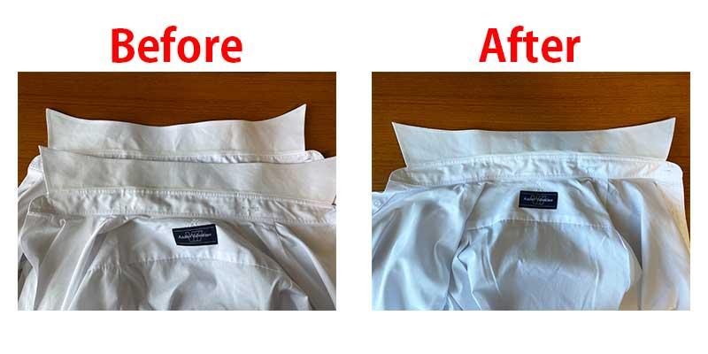 魔法水使用前と使用後のワイシャツ