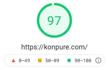 何も対策をしないときの PageSpeed Insightsにおけるパソコンでの表示速度