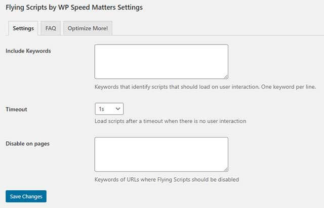 Flying Scripts by WP Speed Mattersの設定画面