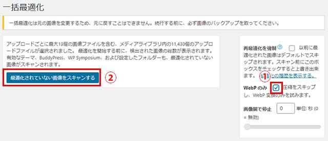 すでに画像が圧縮済みの場合はWebPのみにチェックを入れてスキャン