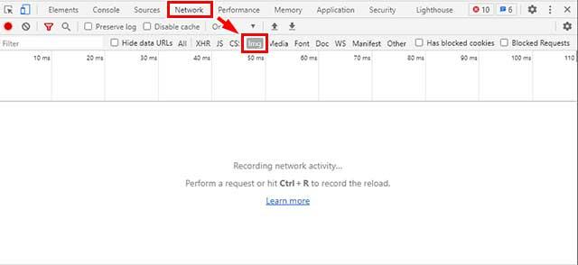 Chromeの開発者ツールでNetworkを選択しimgをクリック