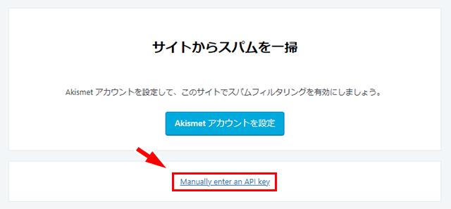 「Manually enter an API key」をクリック