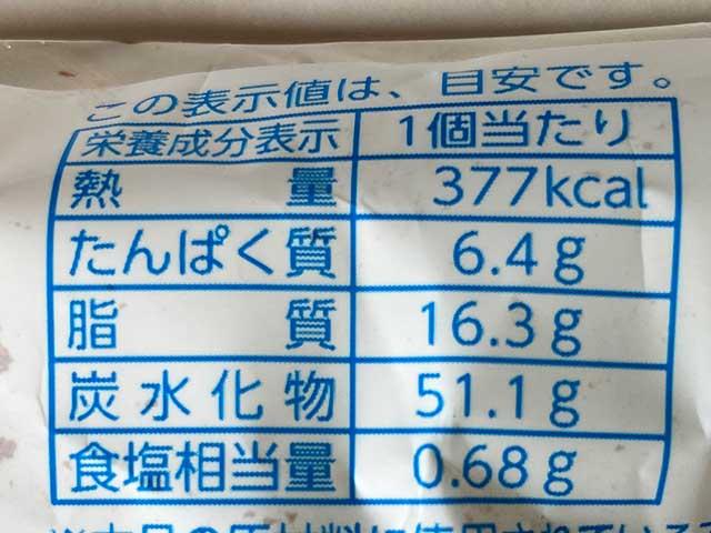 ティラミス風ロールの栄養成分表示