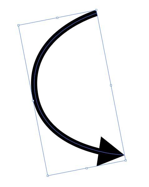 回転マークをドラッグすると矢印が回転する