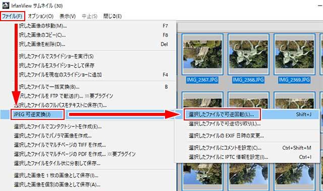 メニューバーの「ファイル」⇒「JPEG可逆変換」⇒「選択したファイルで可逆回転」をクリック