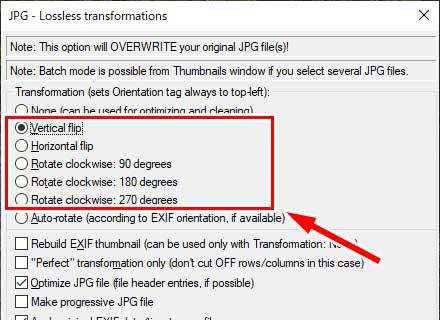 「Vertical flip」~「Rotate clockwise 270 degree」で画像の回転方法を指定